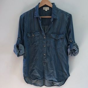 Anthropologie cloth and stone chambray Blouse Top